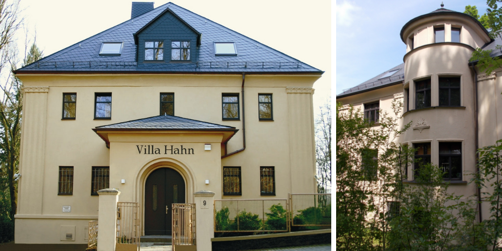Villa Hahn | The villa, with its sophisticated symmetrical facade design, unites the more objective architectural style with traditional elements of neoclassicism.